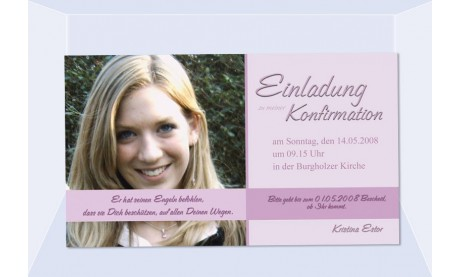 Einladung Kommunion / Konfirmation, Fotokarte 10x18 cm, rosa