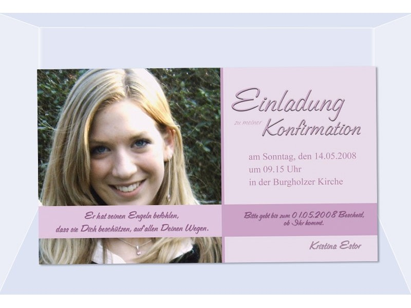 einladung kommunion / konfirmation, einladungskarte, fotokarte, rosa, Einladung