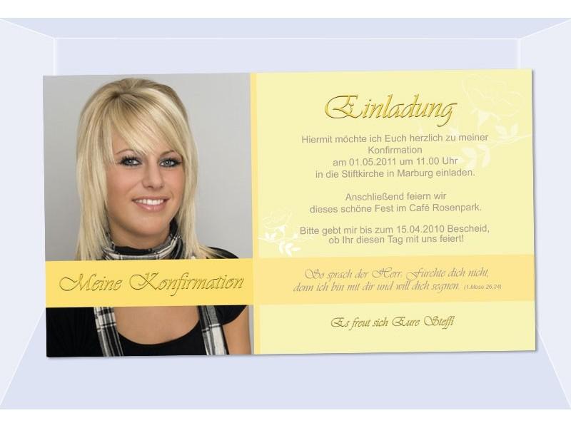 Einladung Kommunion / Konfirmation, Einladungskarte, Fotokarte, gelb
