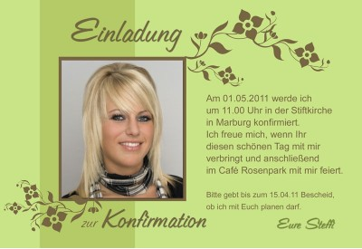 einladung kommunion konfirmation fotokarte 10x15 cm grun
