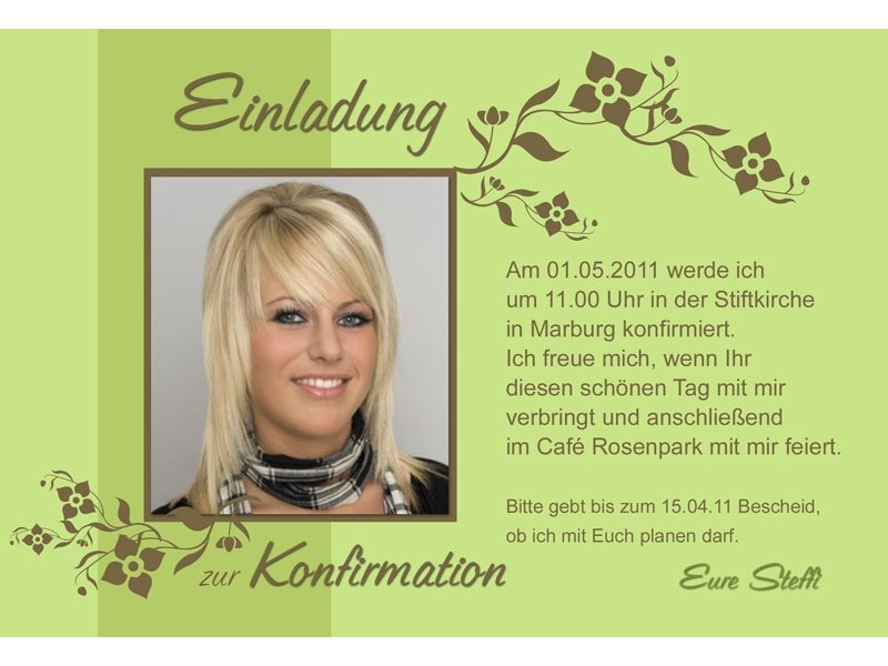 einladung kommunion / konfirmation, einladungskarte, fotokarte, grün, Einladung