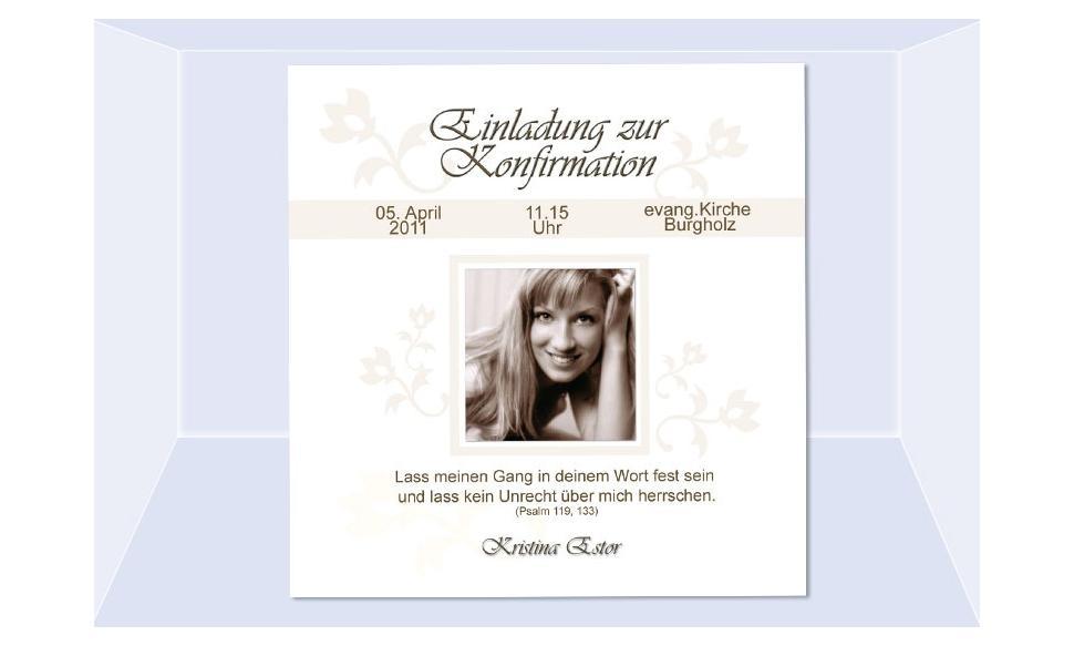 Einladung Kommunion / Konfirmation, Fotokarte 10x10 cm, weiß creme