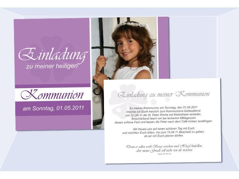 einladung kommunion / konfirmation, einladungskarte, postkarte, lila, Einladungsentwurf
