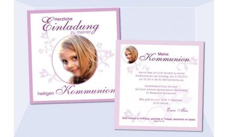 Einladung Kommunion / Konfirmation, Flachkarte 12,5x12,5 cm