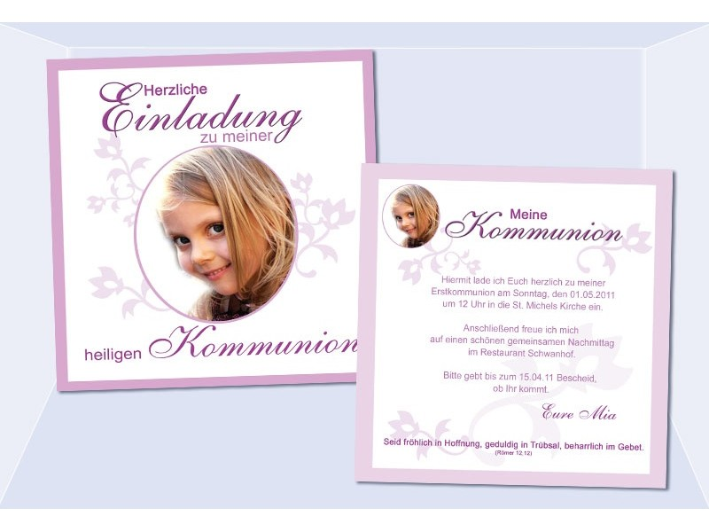 Einladung Kommunion / Konfirmation, Einladungskarte 12 ...