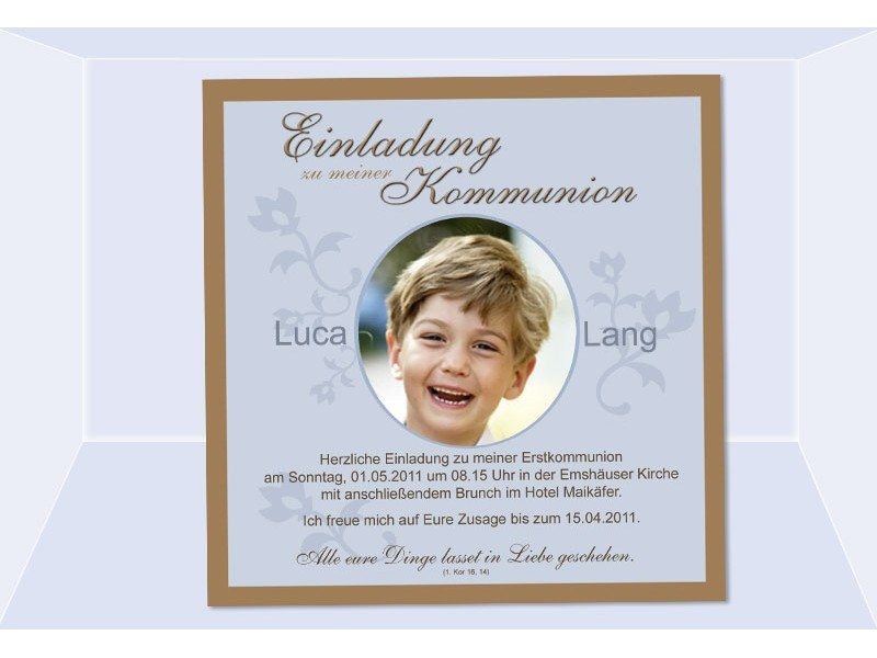 Einladung Kommunion / Konfirmation, Einladungskarte, Fotokarte, braun hellblau