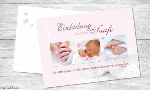 Einladung Taufe Tessa Taufeinladung Postkarte 10x15 Cm Rosa
