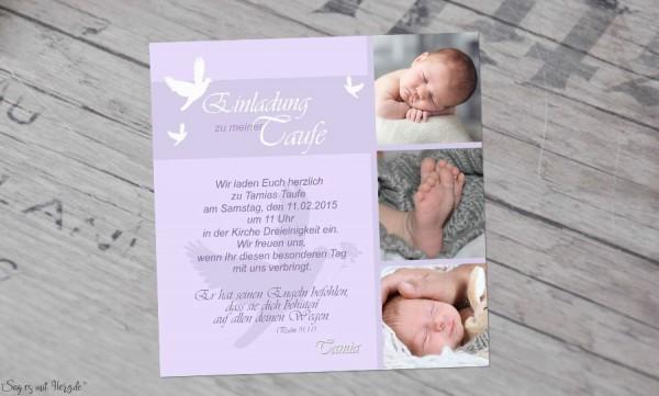 Einladung Taufe Taube Taufeinladung Fotokarte 10x10 Cm Hellblau