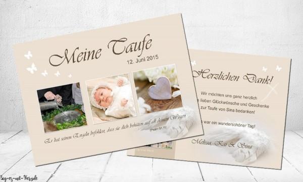 Danksagungskarte Zur Taufe In Creme Flachkarte