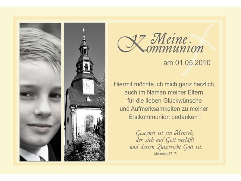 Danksagung Kommunion / Konfirmation, Danksagungskarte, Fotokarte, gelb