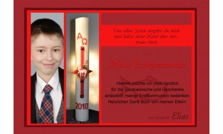 Danksagung Kommunion / Konfirmation, Fotokarte 10x15 cm, rot