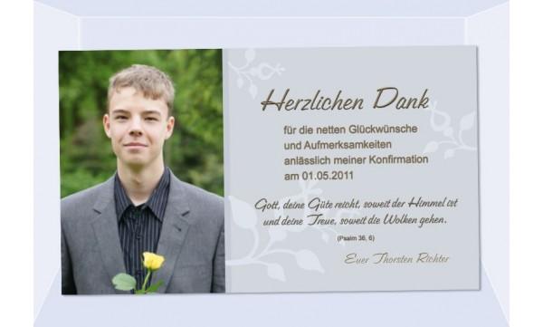 Danksagung Kommunion Konfirmation Fotokarte 10x18 Cm Grau