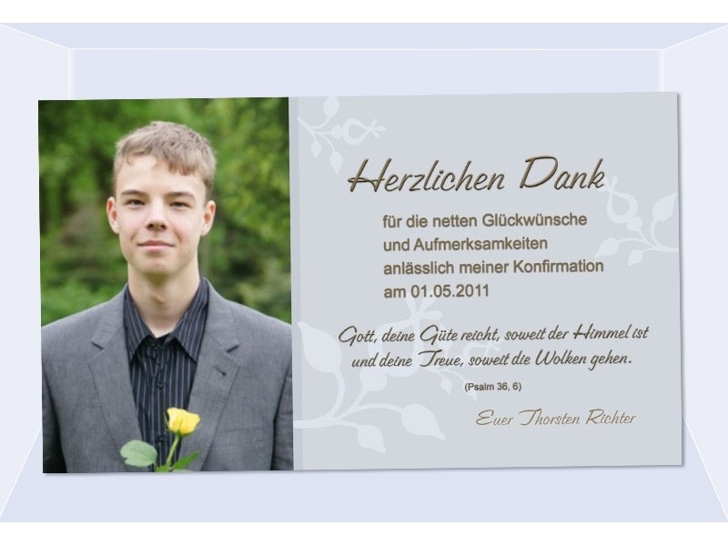 Danksagung Kommunion / Konfirmation, Danksagungskarte, Fotokarte, grau