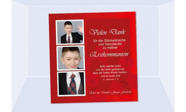 Danksagung Kommunion / Konfirmation, Fotokarte 10x10 cm, dunkelblau