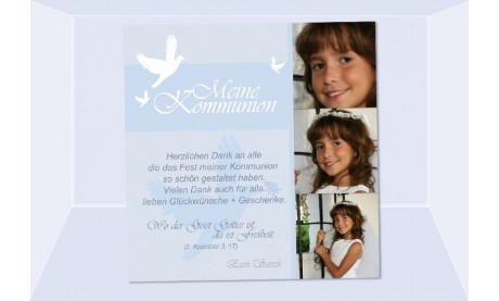 Danksagung Kommunion / Konfirmation, Fotokarte 10x10 cm, hellblau