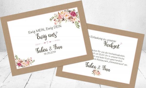 einladungskarten hochzeit floral vintageblumen