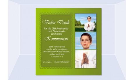 Danksagung Kommunion / Konfirmation, Fotokarte 10x10 cm, grün