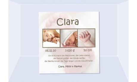 Geburtsanzeige Clara, Fotokarte Geburt, 10x10 cm, Füßchen