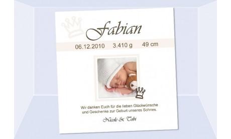 "Danksagung Geburt ""Fabian"", Geburtskarte, 10x10 cm, hellblau"