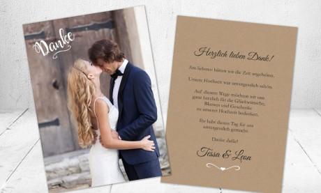 Danksagungskarten Hochzeit Kraftpapier