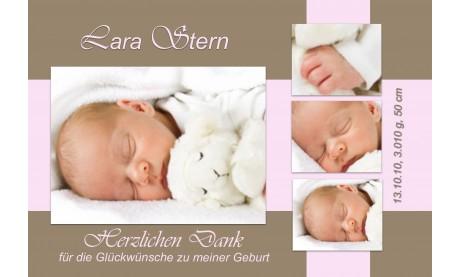 "Danksagung Geburt ""Lara"", Geburtskarte, 10x15 cm, braun rosa"