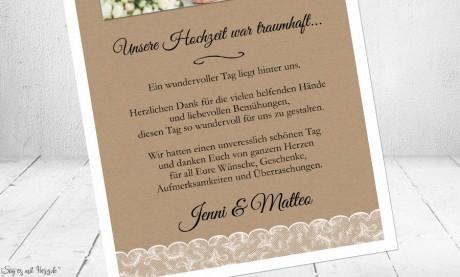 Dankeskarten Hochzeit Vintage Spitze Kraftpapier
