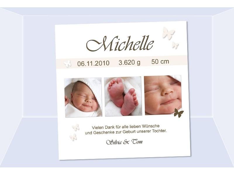 Danksagung Geburt, Geburtskarte, 10x10 cm, creme