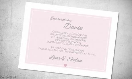 Danksagungskarten Hochzeit rosa weiß