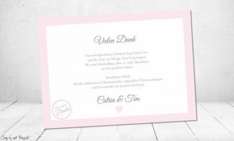 Danksagungskarten Text Hochzeit rosa weiß