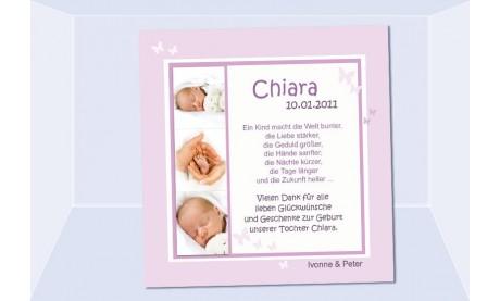 "Danksagung Geburt ""Chiara"", Geburtskarte, 10x10 cm, rosa"