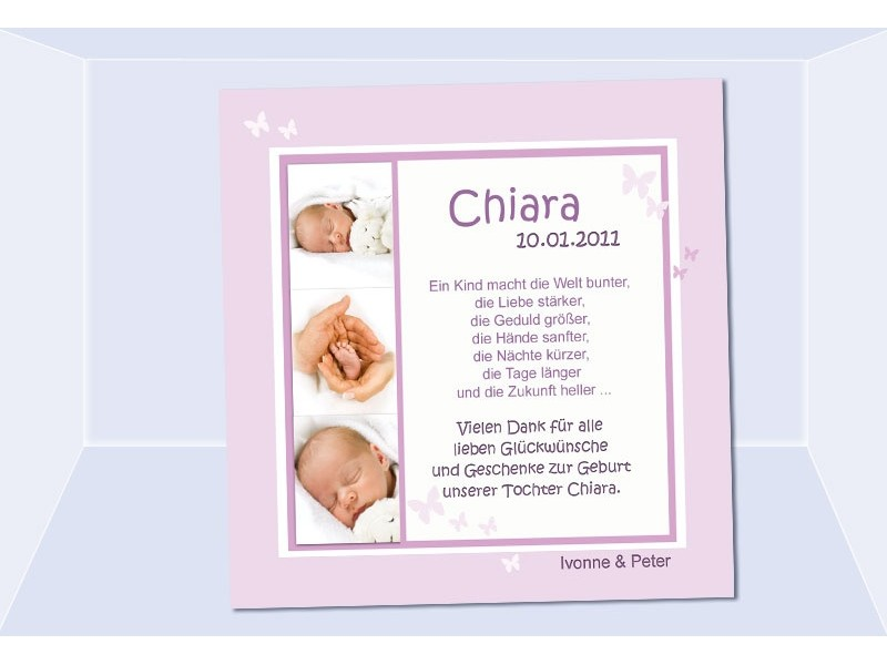 Danksagung Geburt, Geburtskarte, Babykarte, Fotokarte, rosa