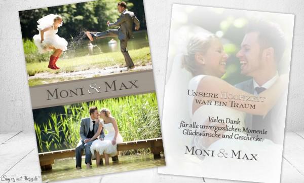 Dankeskarten Hochzeit Foto braun