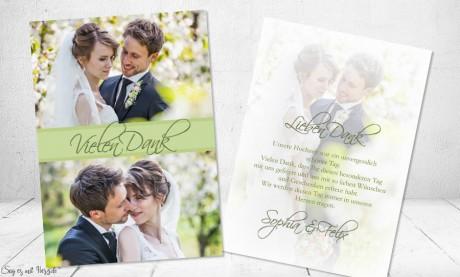 Dankeskarten Hochzeit Foto grün