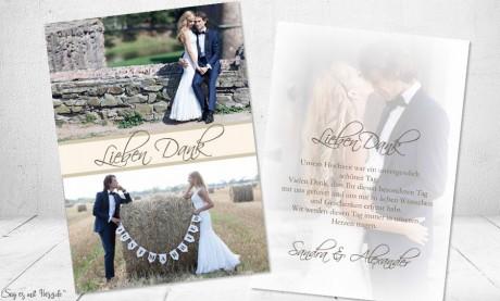 Dankeskarten Hochzeit Foto beige