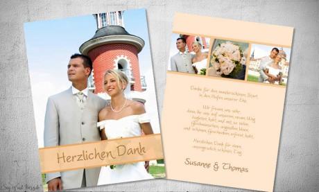 Dankeskarten Hochzeit Fotostreifen Appricot