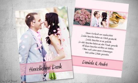 Dankeskarten Hochzeit Fotostreifen rosa