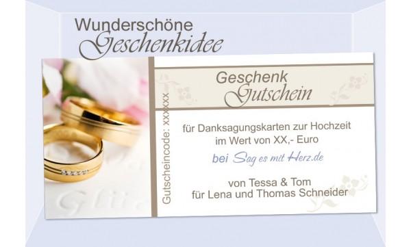 Geschenkgutschein, Gutschein zur Hochzeit, Trauung