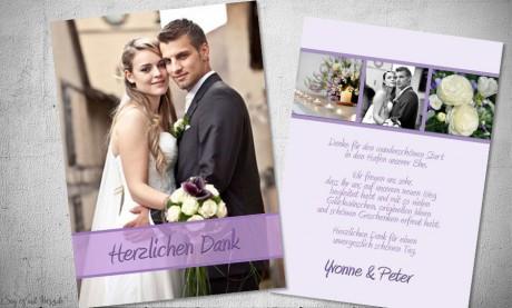 Dankeskarten Hochzeit Fotostreifen Lila