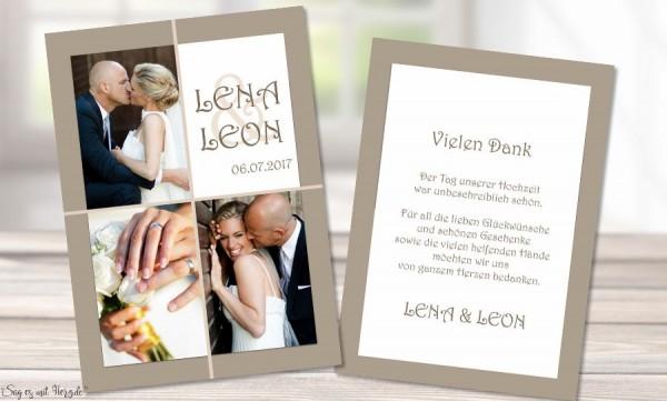 Danksagungskarten Hochzeit Foto braun