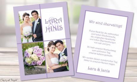 Danksagungskarten Hochzeit Foto flieder