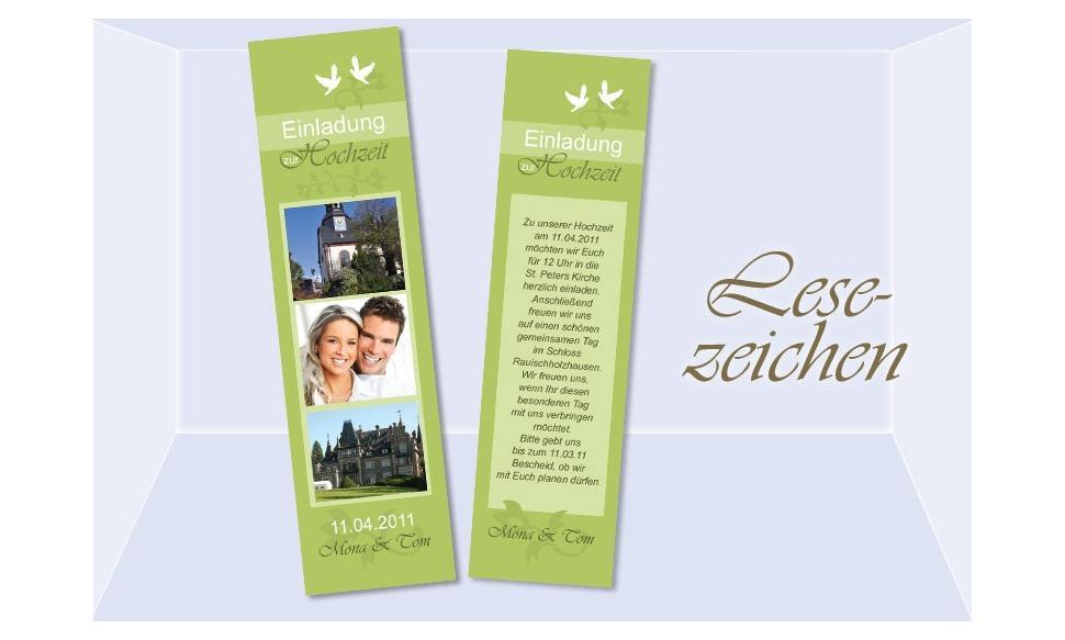 Lesezeichen Einladung Hochzeit, 5x20 cm, grün