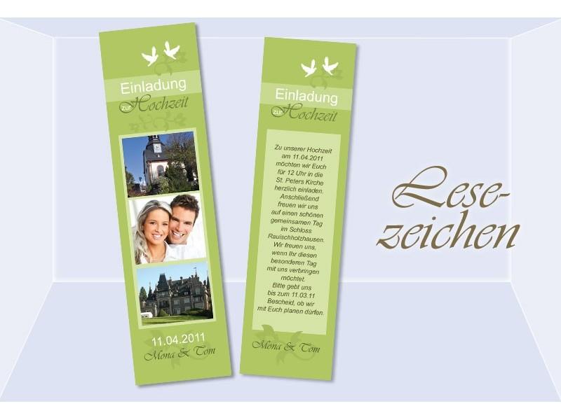 lesezeichen einladung hochzeit einladungskarte gr n. Black Bedroom Furniture Sets. Home Design Ideas