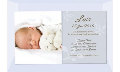 "Danksagung Geburt ""Luis"", Geburtskarte, 10x18 cm, grau"