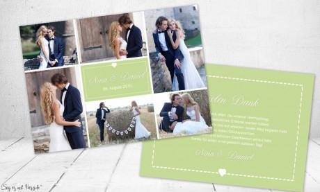 Dankeskarte Hochzeit Fotos, flieder