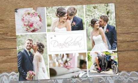 Dankeskarte Hochzeit Fotos, Vintage