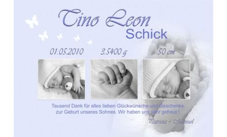 "Danksagung Geburt ""Babyfüße"", Geburtskarte, 10x15 cm, hellblau"