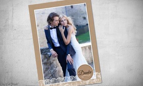 Dankeskarten Hochzeit Postkarte Kraftpapier, Spitze und Button