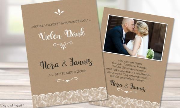 Dankeskarten Hochzeit Kraftpapier, Spitze