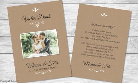 Danksagung Hochzeit Kraftpapier