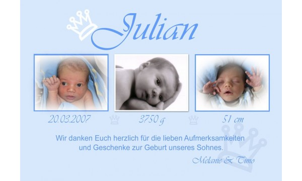 "Danksagung Geburt ""Kleiner Prinz"", Geburtskarte, 10x15 cm, hellblau"